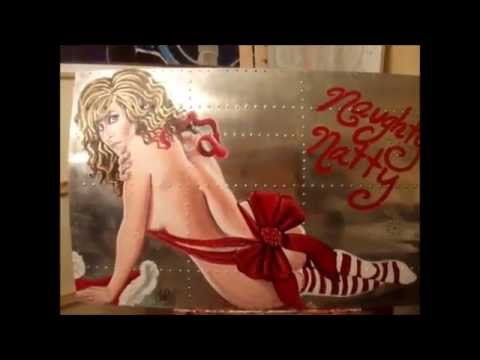 Naughty Natty ORIGINAL Pin-up Girl WWII Aircraft Nose Art By Natalie