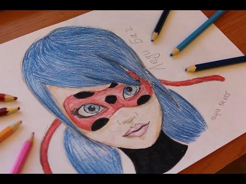 Speed drawing: Miraculous LadyBug(как нарисовать Леди Баг)