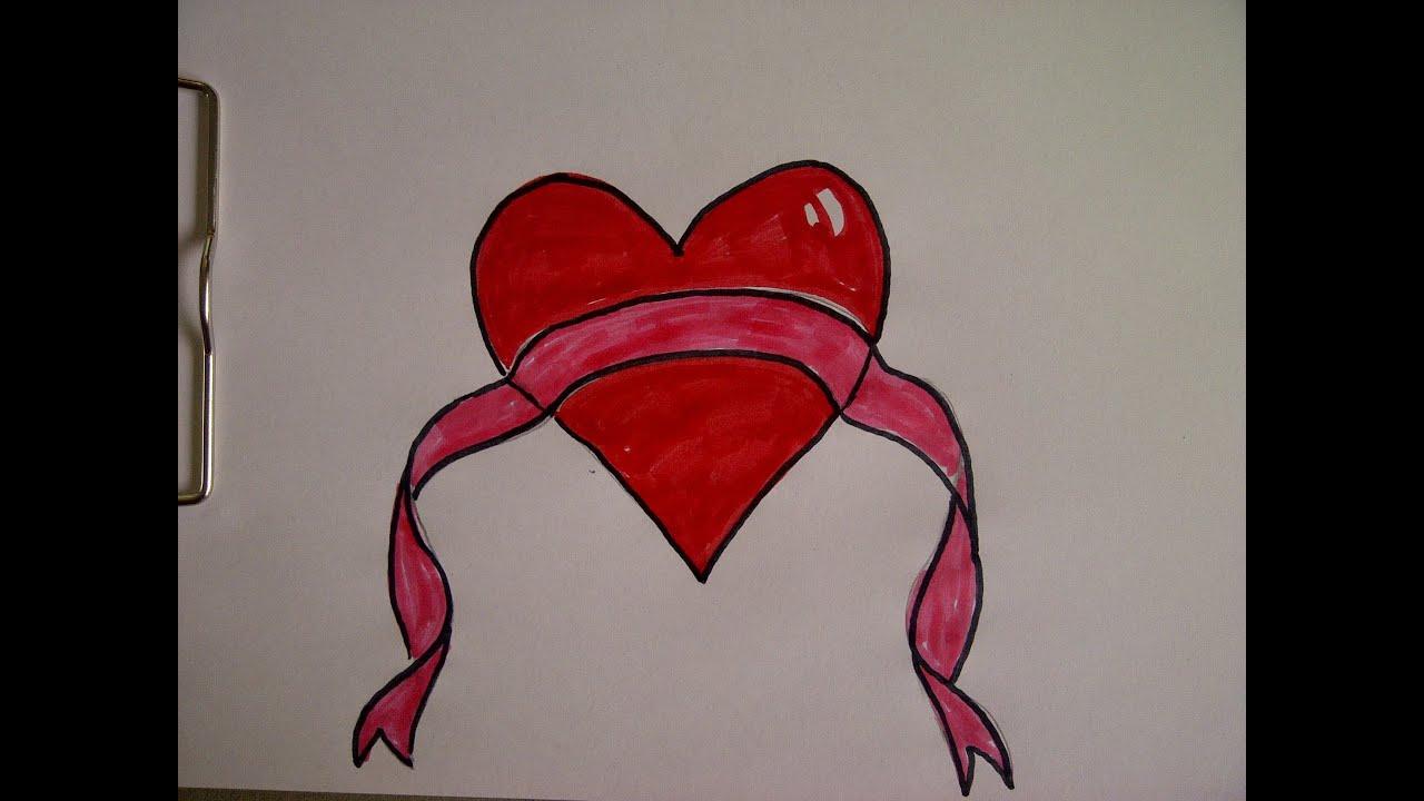 Herz mit Schleife 2. Zeichnen lernen für Anfänger. zum Muttertag ...