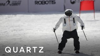 Robots try to ski, just miles from the Olympics