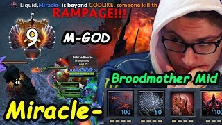 MIRACLE  - [Broodmother] MIDLANE M-GOD RAMPAGE Dota 2 7.22 Pro Gameplay