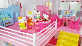 헬로키티 인형의 집 장난감 놀이 집 꾸미기 Hello Kitty Doll House Toy Unboxing для девчонок Игрушки ハローキティ おもちゃ
