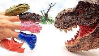 Jurassic World2 Dinosaur Finger Toys! Scary T-Rex & Little Dinosaurs Fun Movie For Kids. Learn Dino