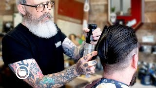 Master Barber Cleans Up Slicked Back Hair and Gives a Beard Trim