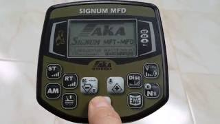 Metal detector AKA Signum MFD menu language