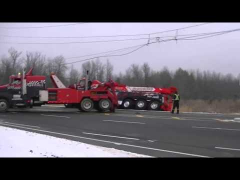 pulling a big tow truck out of the ditch