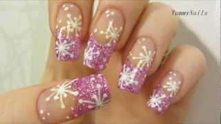 Снежинка дизайн на ногтях