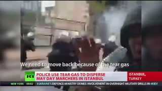 RT crew caught in tear gas and water cannon police attack in Istanbul, (Turkey) 5/1/14