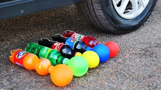 Experiment: Car vs Cola, Fanta, Sprite, Pepsi with Balloons