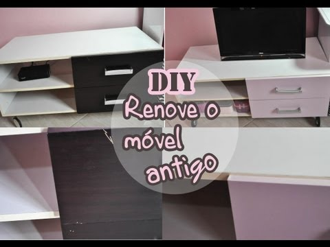 DIY - como reformar / transformar um móvel antigo com papel contact