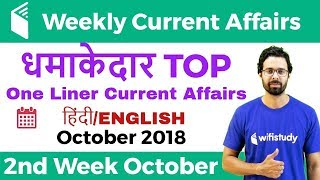धमाकेदार Top One Liner Current Affairs | 2nd Week of October 2018