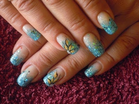 Soak off gel with glitter