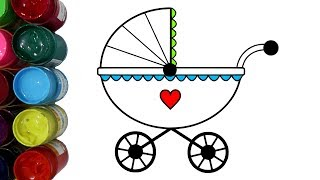 Belajar Menggambar dan Mewarnai Kereta Dorong Bayi dengan Cat Air