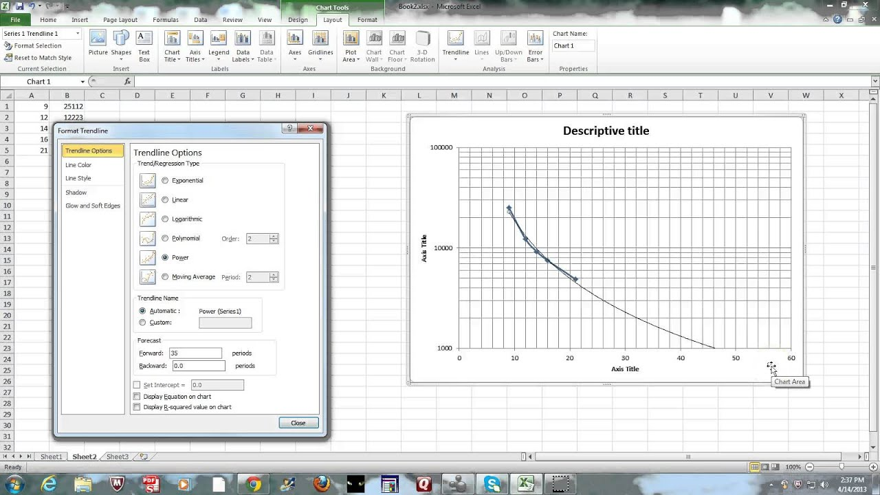 part 2 exel graphing - semi-log  u0026 trendline 2013