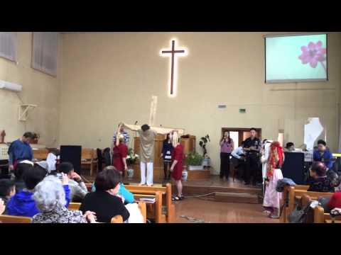 Страдания Христа   постановка молодёжи на Пасху, 20 апреля 2014
