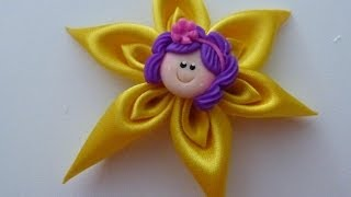 flores en punta para el cabello paso a paso DIY:tutorial hair flower. Easy Hair Bow