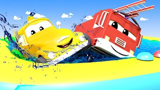 SUMMER Day with the Baby Cars in Car City ! - Cartoon for kids with Trucks Cars 3 d