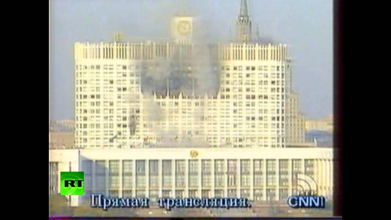 1993coup Russian White House Burns After Being Bombarded