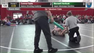 126 Maxwell Havlicek Upper Mississippi Banditos vs Connor Dyke Askren Wrestling Academy 6475760104