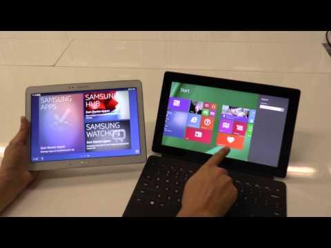 Samsung Galaxy Note 10.1 2014 vs. Microsft Surface 2   tabtech.de