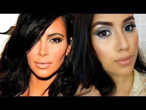 Kim Kardashian Grammy's 2015 Makeup Tutorial   Green Smokey Eye + Nude Lip