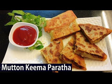 Hyderabadi Mutton Keema Paratha Recipe In Telugu | How To Make Mutton Keema Paratha | Street Food
