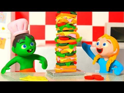 SUPERHERO BABIES MAKE A SUPER SANDWICH ❤ Superhero Babies Play Doh Cartoons For Kids