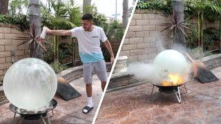BURNING GIANT BUBBLE BALL!! (EXPLOSION)