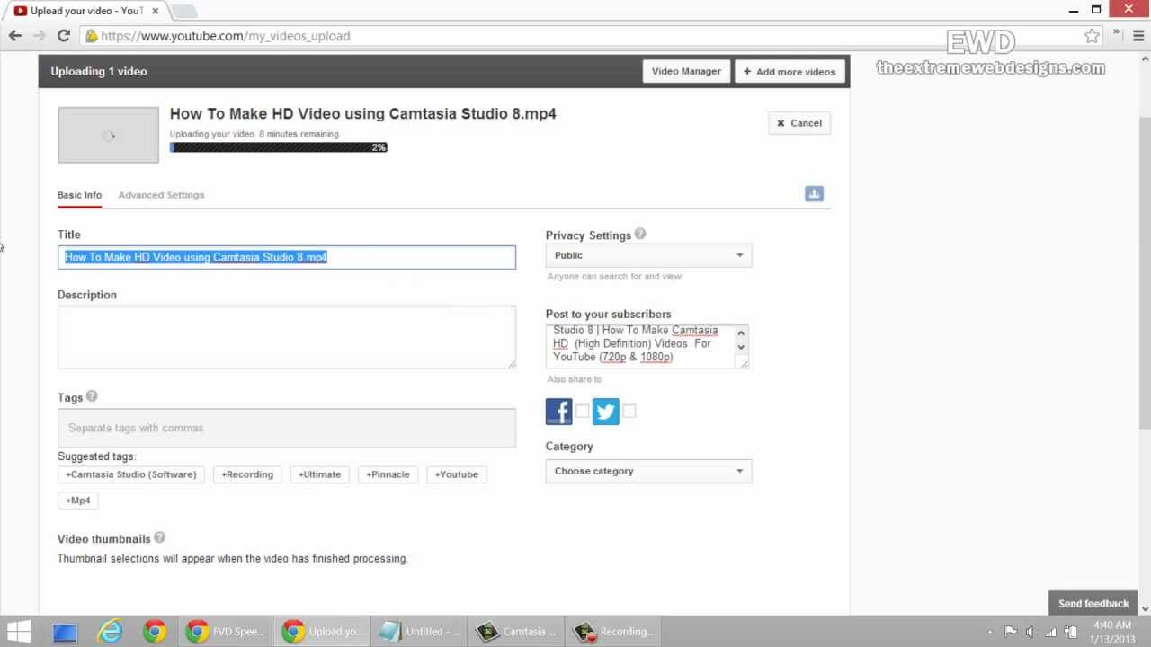 how to make video and upload on youtube