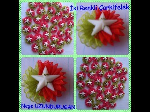 Organze Kurdele oyaları&İKİ RENKLİ ÇARKIFELEK OYASI&Forex summer flower,health flower,holiday flower