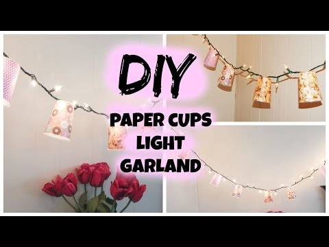 DIY party lighting decor at home out of Paper cups (Paper Cups Light Garland)