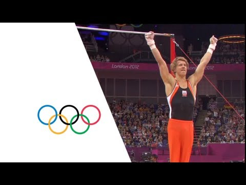 The Netherlands' Epke Zonderland wins the artistic gymnastics horizontal bar gold medal in the North Greenwich Arena at the London 2012 Olympic Games (7 Augu...