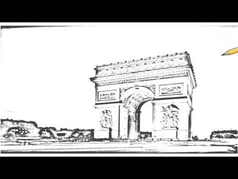 Auto Draw 2: Arc De Triomphe At Dusk, Paris, France