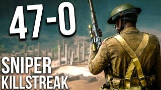 BATTLEFIELD 1 47 KILLSTREAK SNIPING ONLY M1903 | BF1 Scout Gameplay