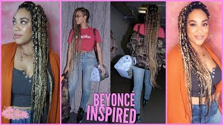 Blonde Beyonce Inspired Jumbo Box Braids on My Best Friend | Rubberband Method
