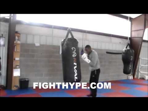 JERMALL CHARLO BLASTS THE HEAVY BAG IN TRAINING