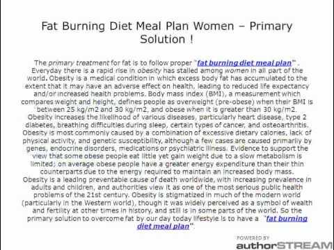 Fat Burning Diet Meal Plan Women