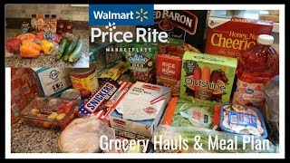 Wal-Mart & Price Rite Grocery Hauls & Meal Plan for next week