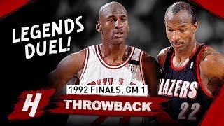Michael Jordan vs Clyde Drexler Game 1 LEGENDS Duel Highlights 1992 NBA Finals - MUST WATCH!
