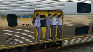 CGI train surfers