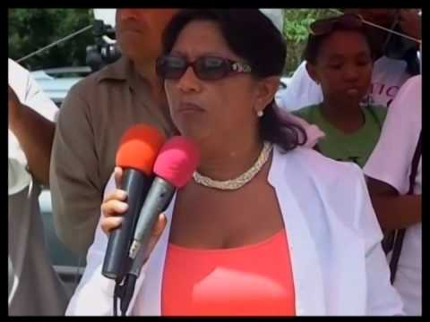 Belizeans protest at the Western Border over the murder of Tourism Police at Caracol Site