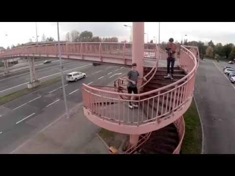 Epic skate fail fall from a high rail