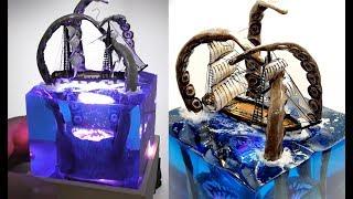 KRAKEN vs SHIP DIORAMA NIGHT LAMP-EPOXY RESIN and WOOD -DIY