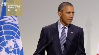 US President Obama addresses COP21 meeting