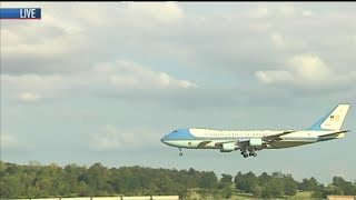 Air Force One lands in Evansville
