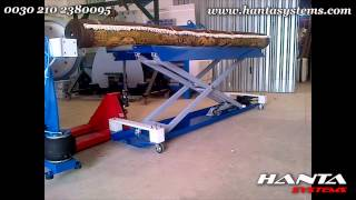 Scissor lift roller bench