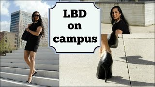 Crossdresser - walking around the university campus in a black dress and high heels | NatCrys