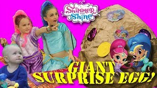 The Worlds BIGGEST GOLDEN SHIMMER AND SHINE Surprise Egg Opening! | SamLandTV