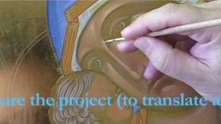 Step 4: How to paint an icon: Enlivening Lines - area of most intense light.