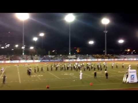 New hyde park memorial high school marching band with the romanettes and color guards
